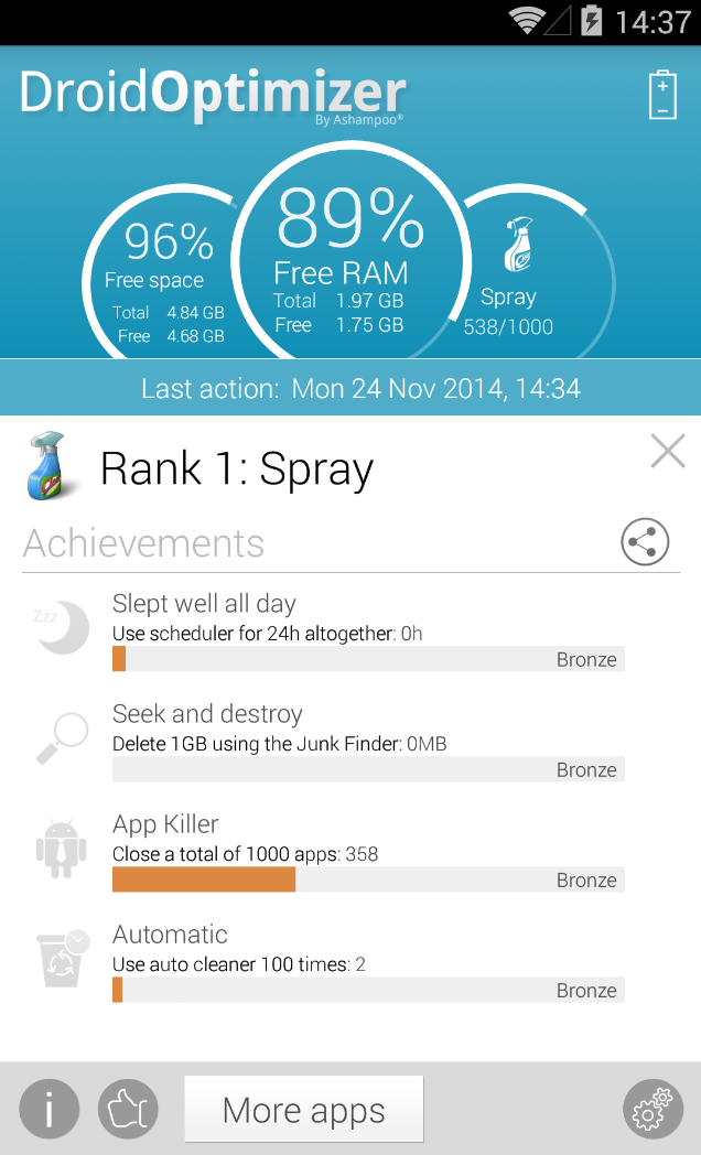 Ashampoo Droid Optimizer Screenshot