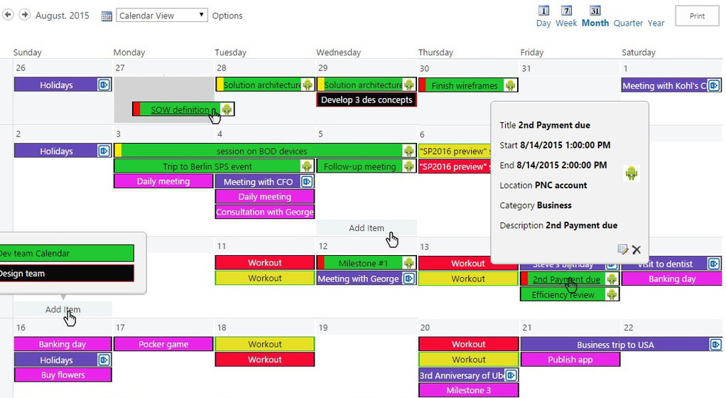 Master Calendar, Screenshot 1