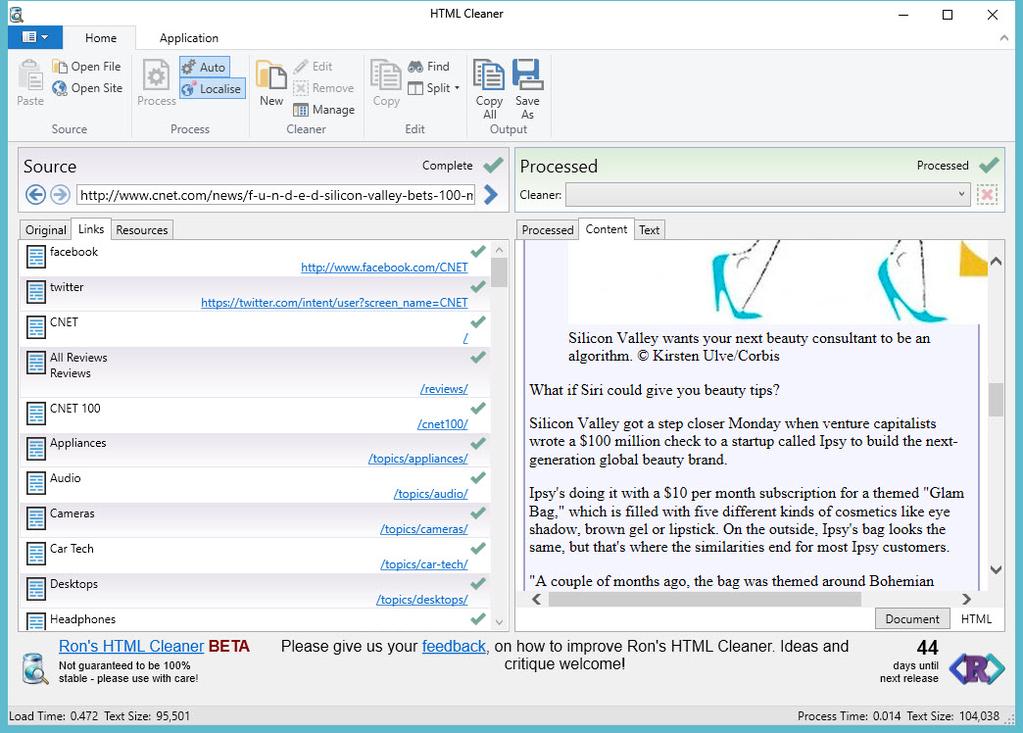 Ron's HTML Cleaner Screenshot 2