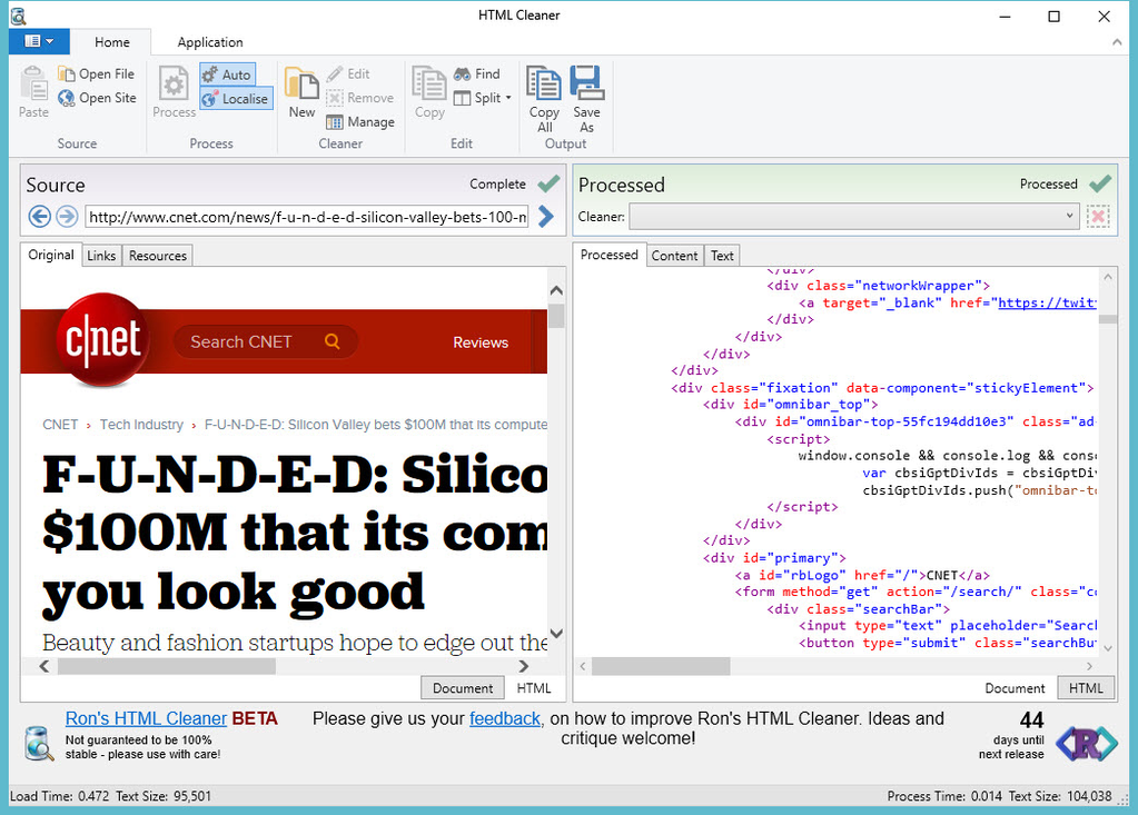 Ron's HTML Cleaner Screenshot