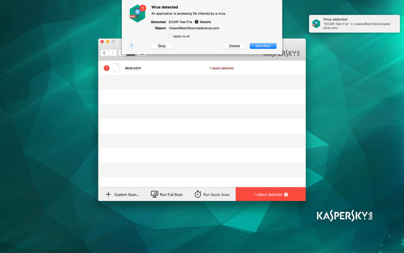 Kaspersky  Virus Scanner for Mac Screenshot 2