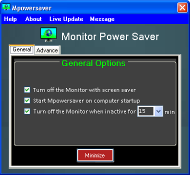 Monitor Power Saver Screenshot