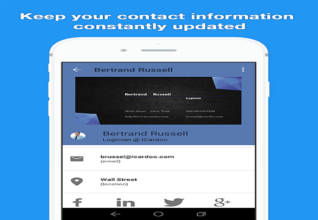 iCardoo Digital Business Card Screenshot