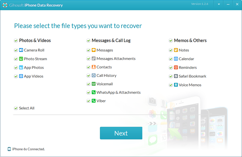 Gihosoft iPhone Data Recovery Free Screenshot