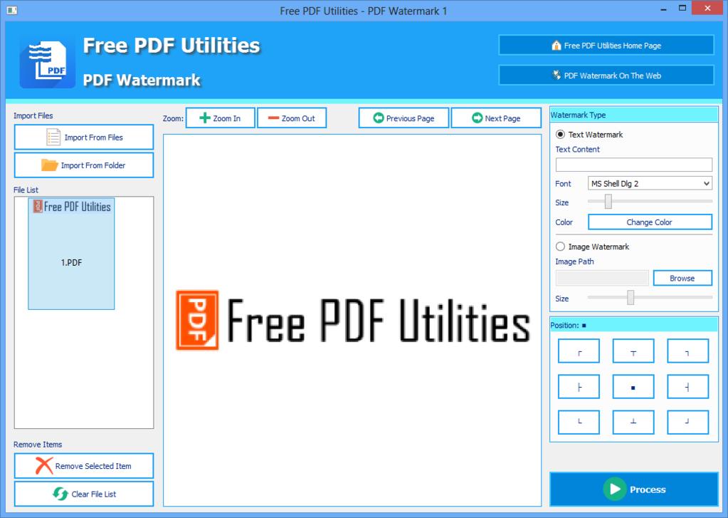 Free PDF Utilities - PDF Watermark Screenshot 1