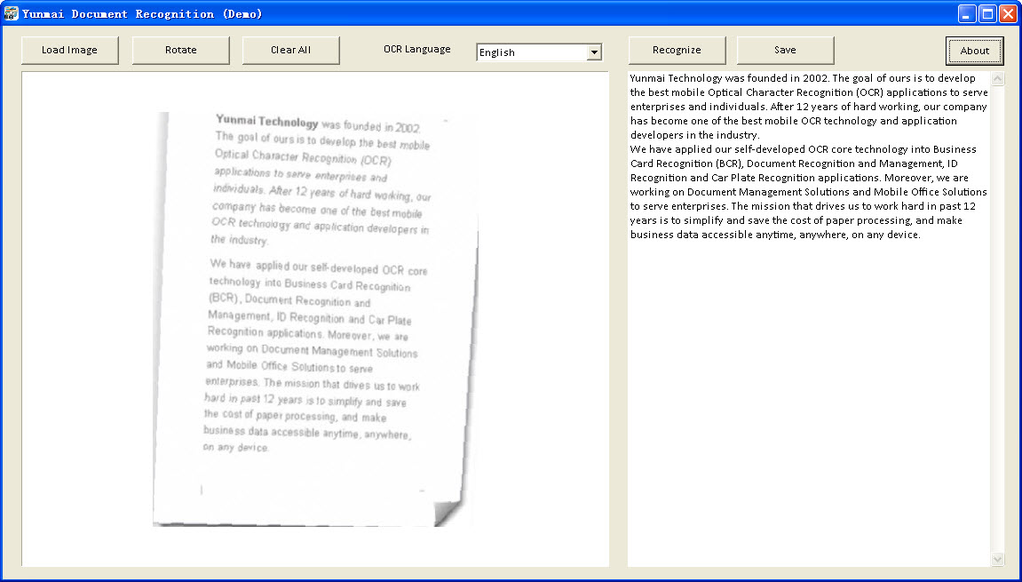 Yunmai Document Recognition Demo Version Screenshot 1