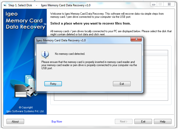 IGEO Memory Card Data Recovery Screenshot 1