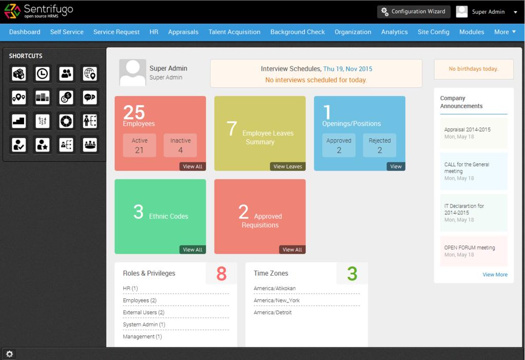 Sentrifugo Opensource HRMS Screenshot 1