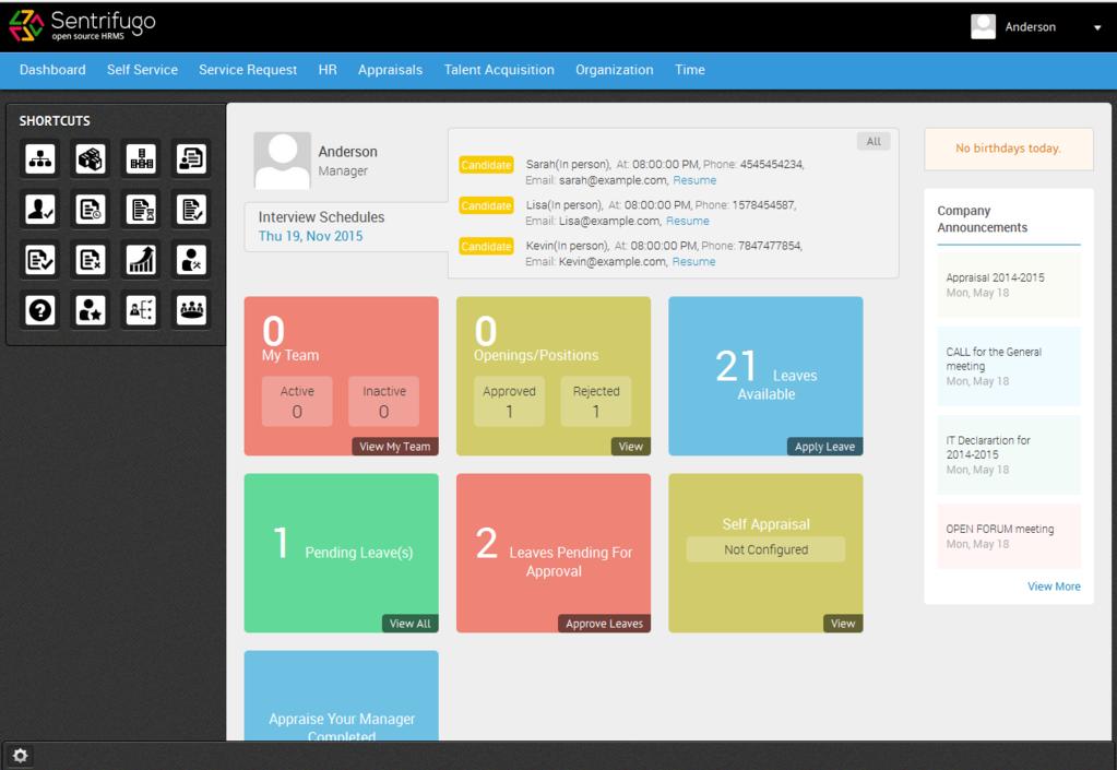 Sentrifugo Opensource HRMS Screenshot 2