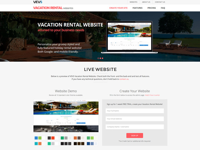 Vacation Rental Website - Vevs.com Screenshot