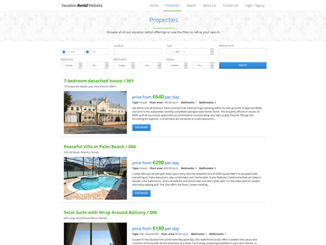 Vacation Rental Website - Vevs.com Screenshot 3