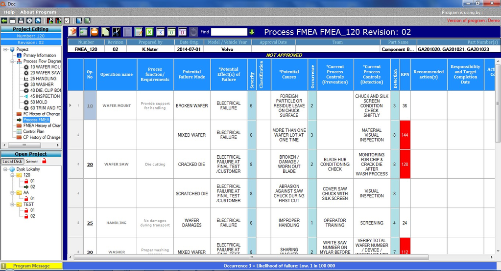 Qdoc - ProcessFlow, FMEA, Control Plan Screenshot 2