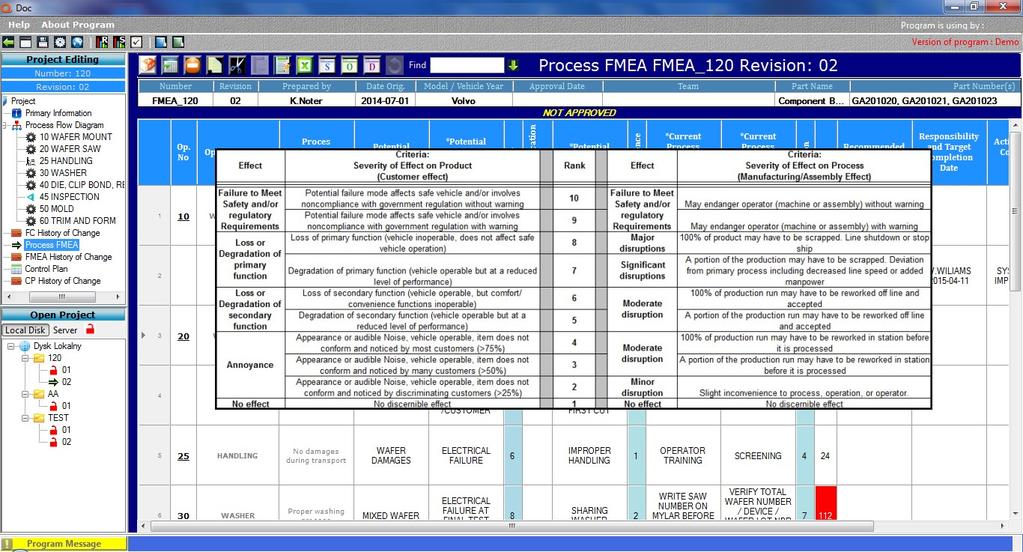 Qdoc - ProcessFlow, FMEA, Control Plan Screenshot 5