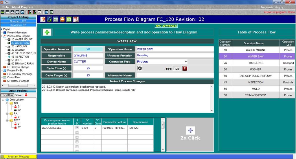 Qdoc - ProcessFlow, FMEA, Control Plan Screenshot