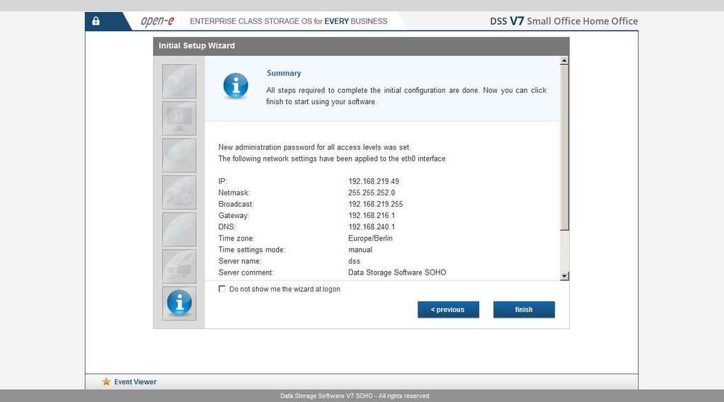 Open-E Data Storage Software V7 4TB SOHO Screenshot