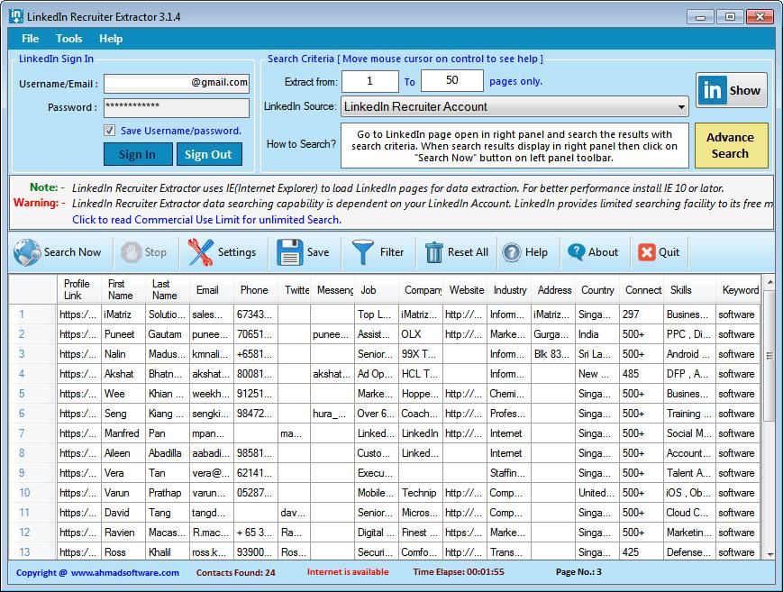 LinkedIn Recruiter Extractor Screenshot 1