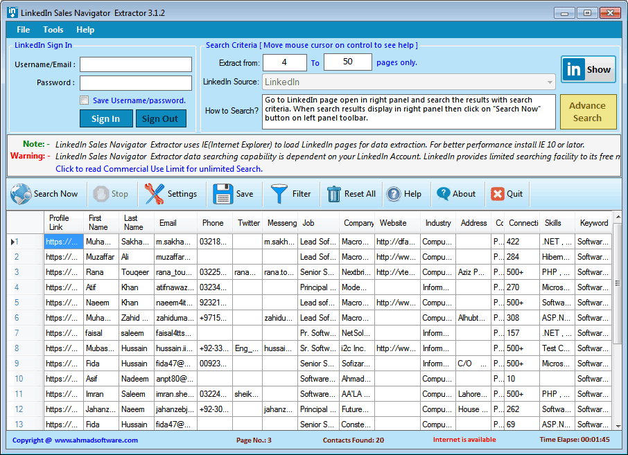 LinkedIn Sales Navigator Extractor Screenshot 1