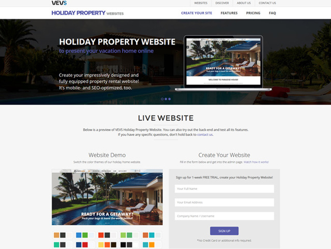 Holiday Property Website - Vevs.com Screenshot 1