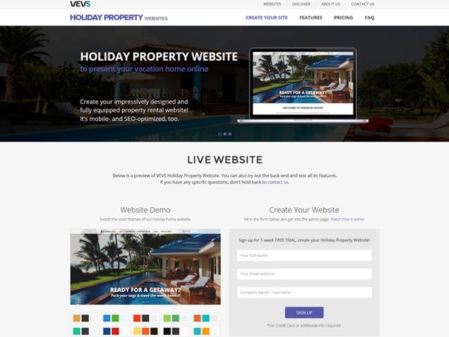 Holiday Property Website - Vevs.com Screenshot