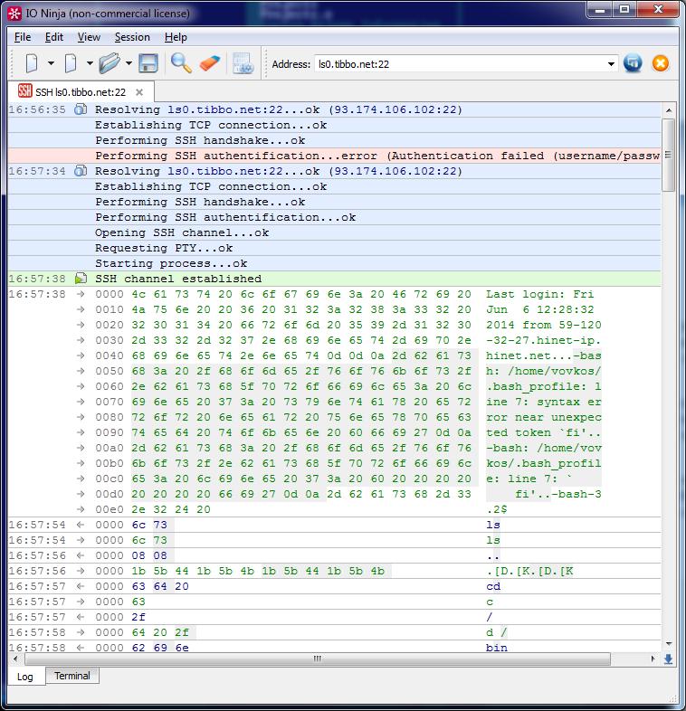 IO Ninja Programmable Terminal/Sniffer Screenshot
