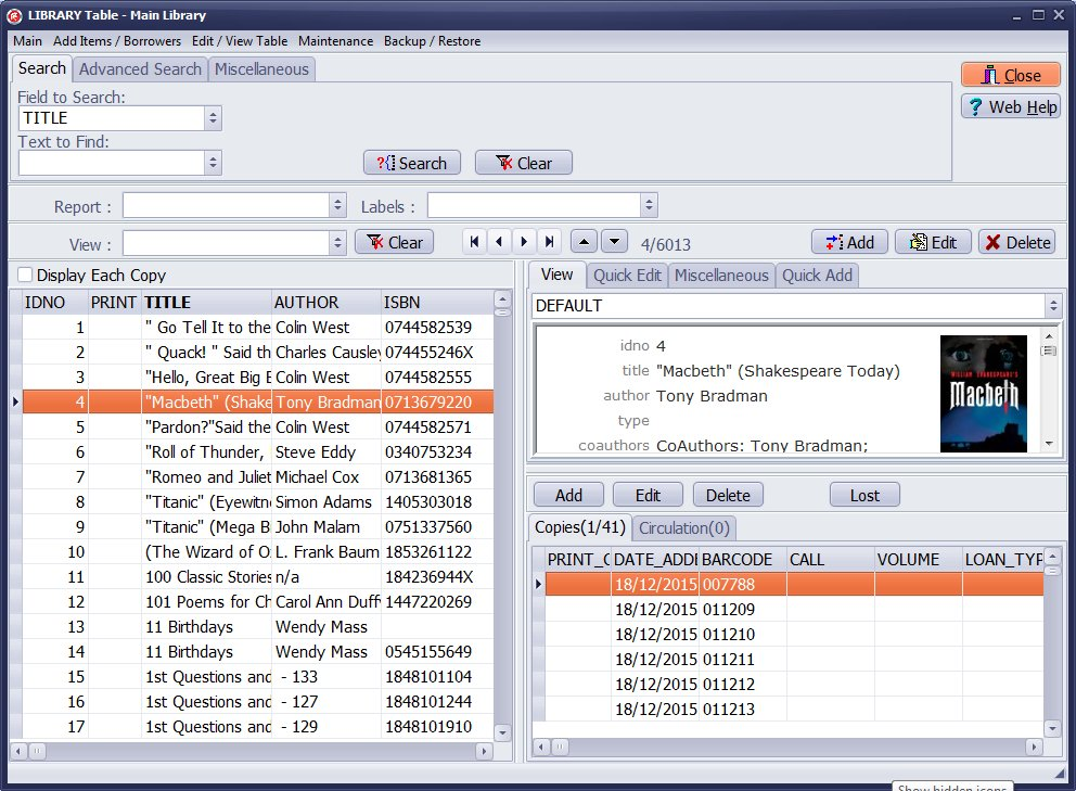 Handy Library Manager Screenshot 1