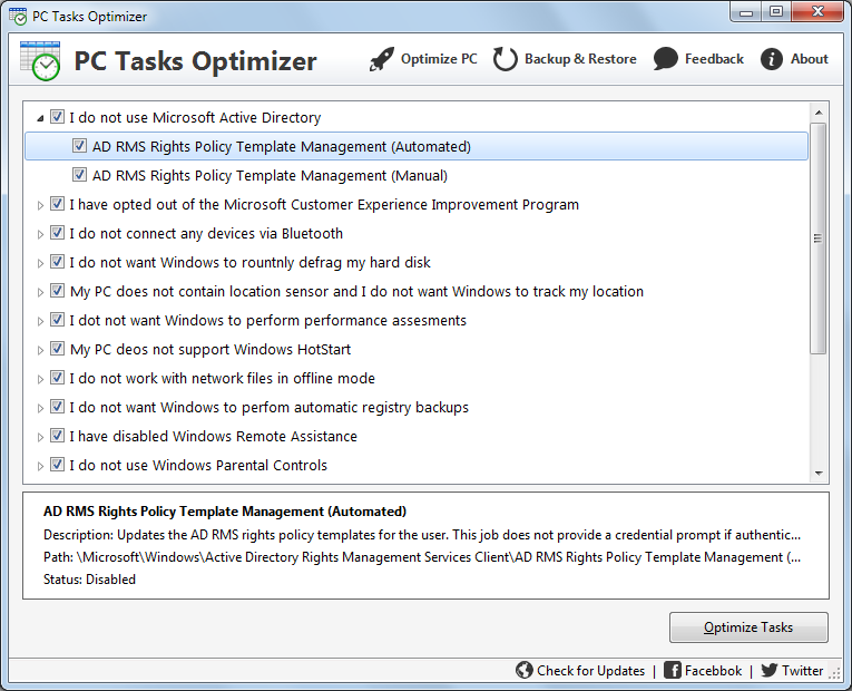 PC Tasks Optimizer Screenshot 1