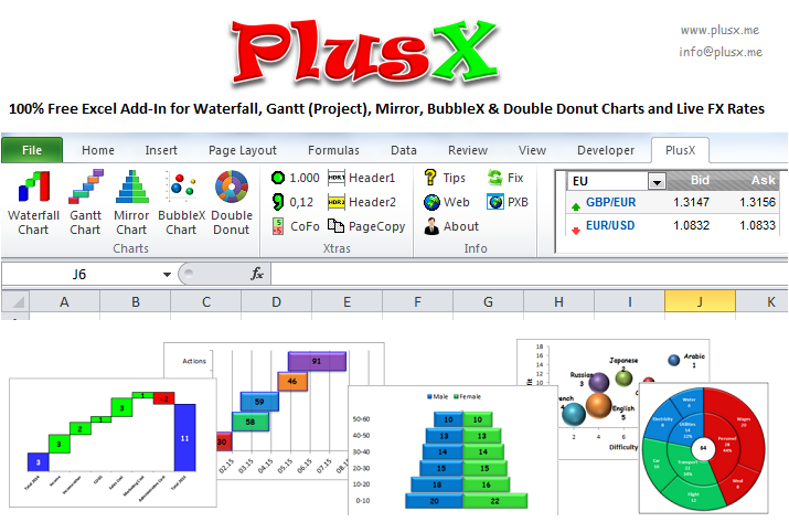 PlusX Excel Add-In Screenshot