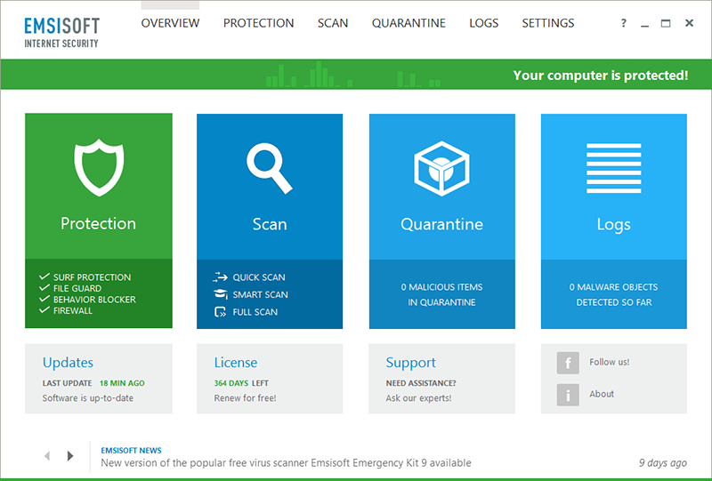 Emsisoft Internet Security Screenshot