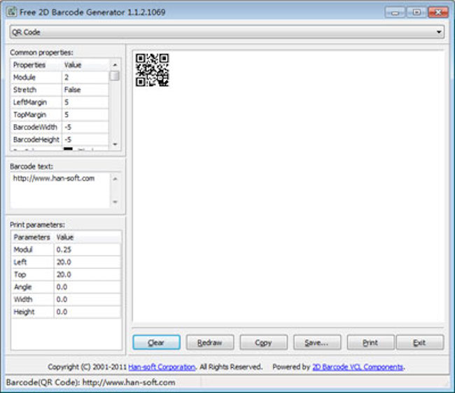 Free 2D Barcode Generator Screenshot