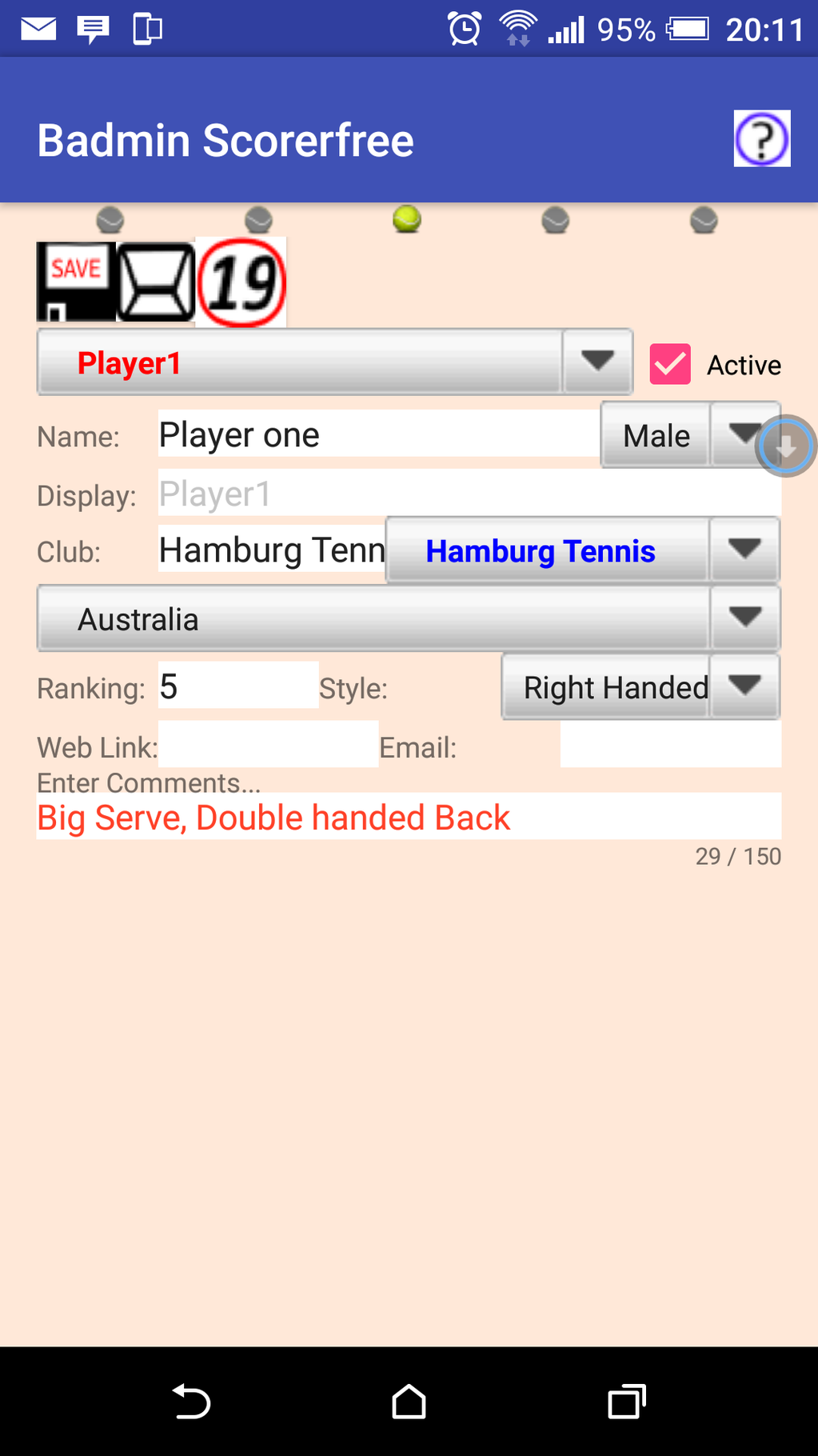 Badmin Scorer Screenshot 2