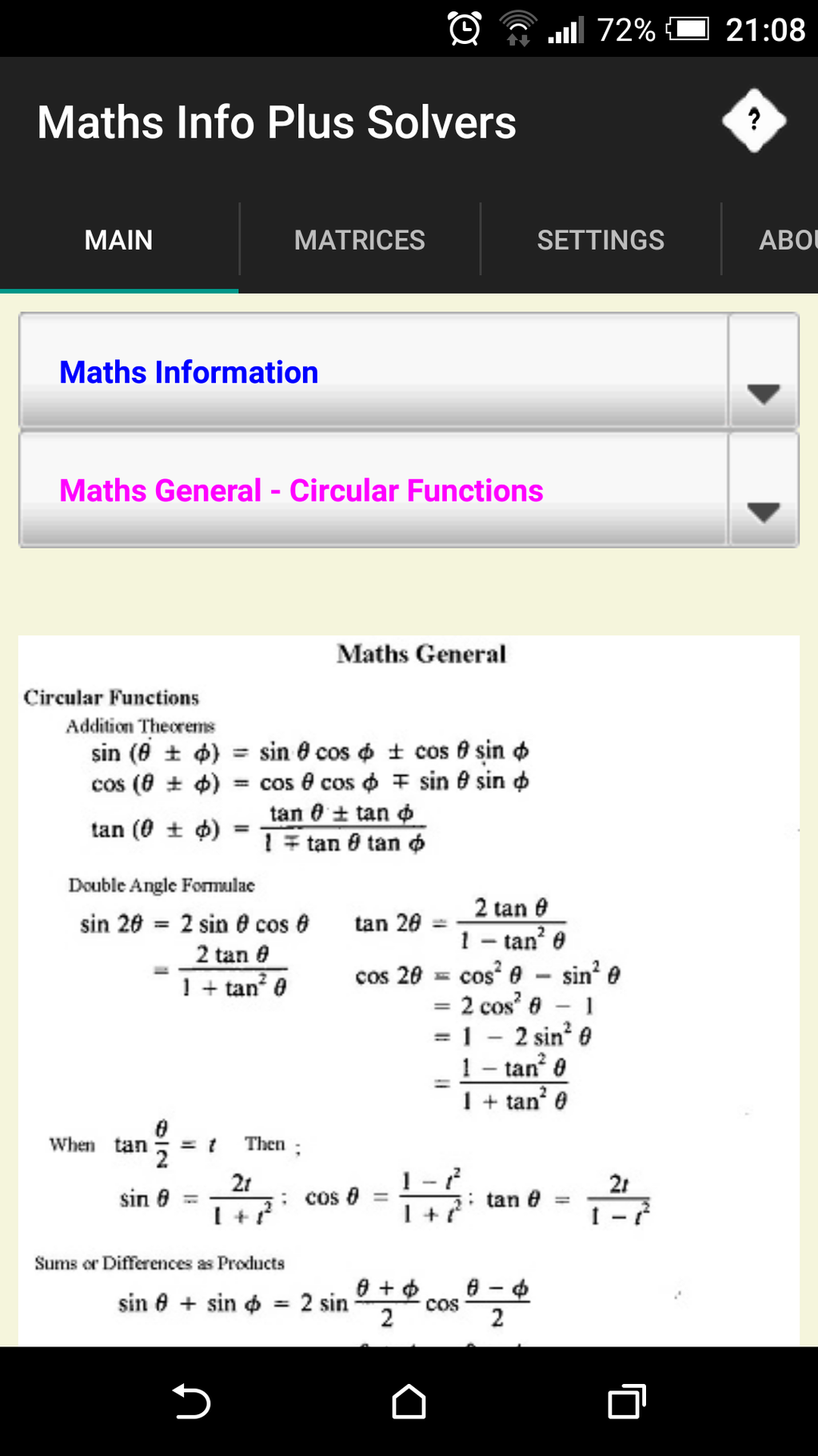Maths Info And Solvers free Screenshot 3