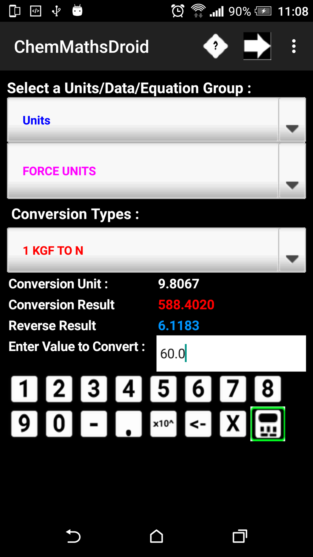 ChemMathsDroidfree Screenshot 3