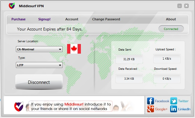 Middlesurf VPN Screenshot