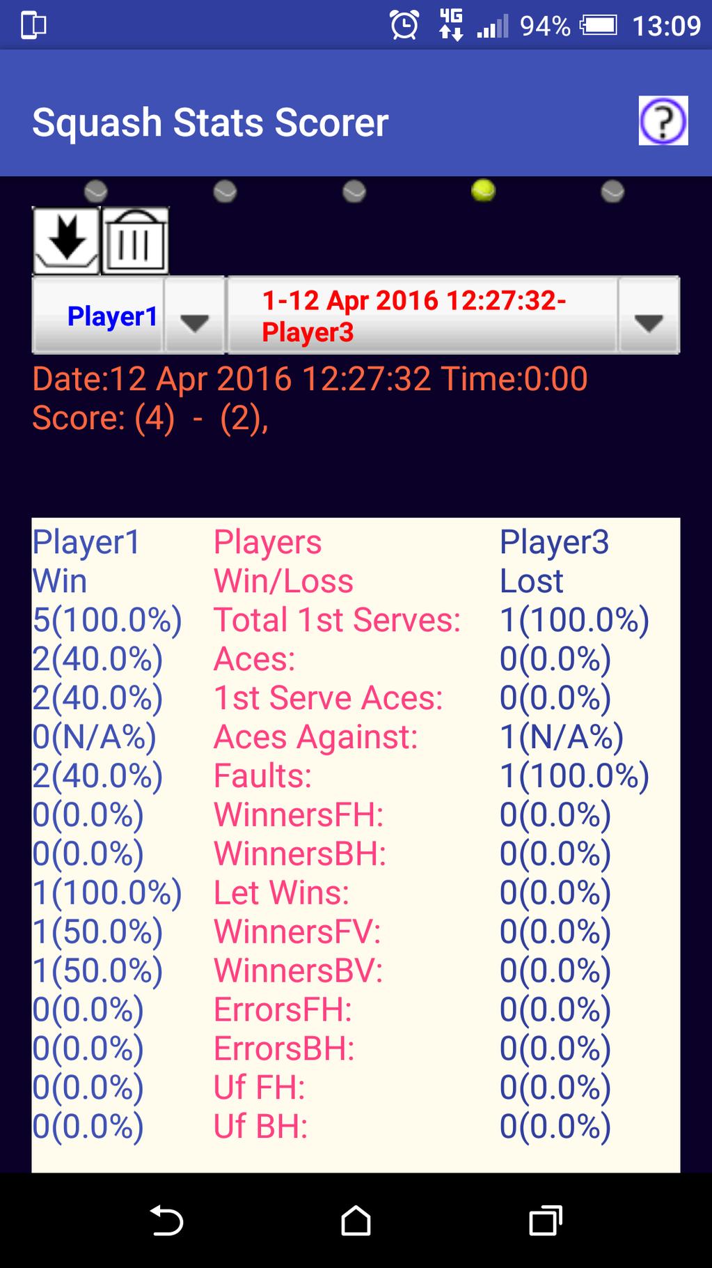 Squash Stats Scorer Screenshot 4