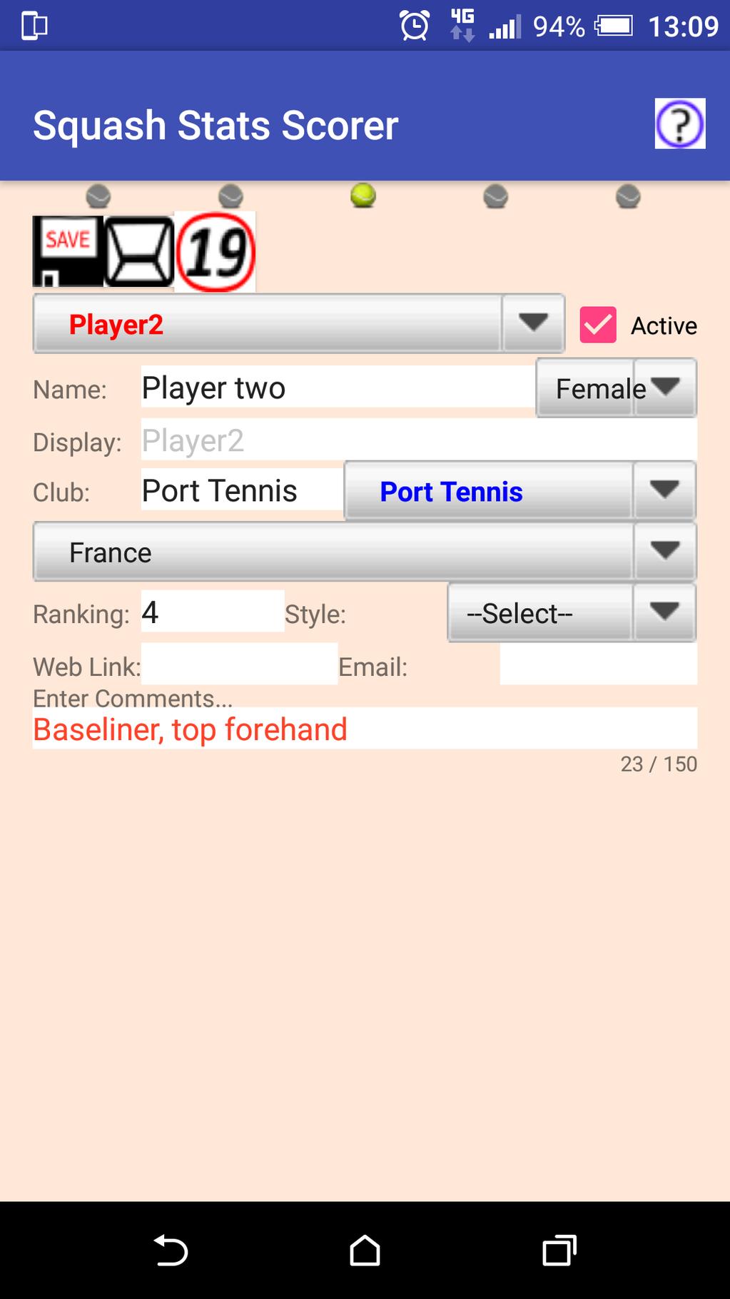 Squash Stats Scorer Screenshot 3
