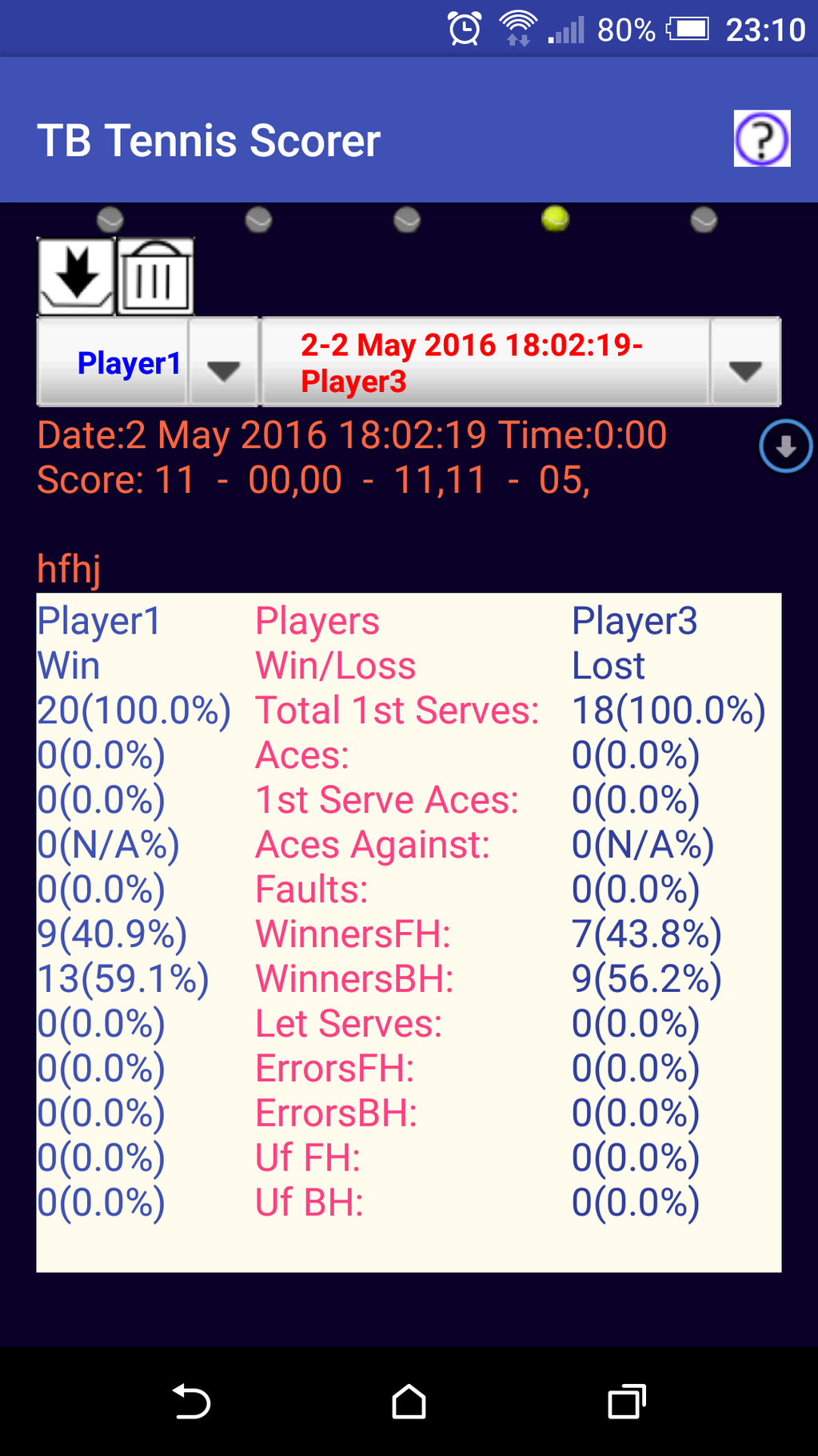 TB Tennis Scorer Screenshot 1