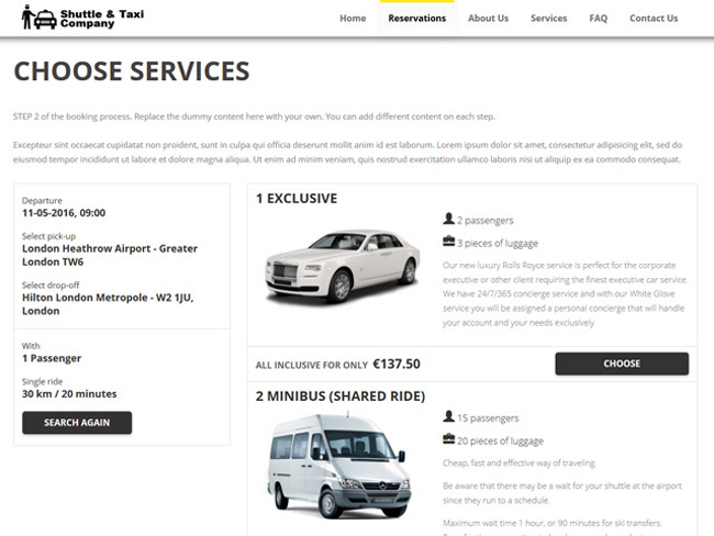 Shuttle Taxi Website - Vevs.com Screenshot 3