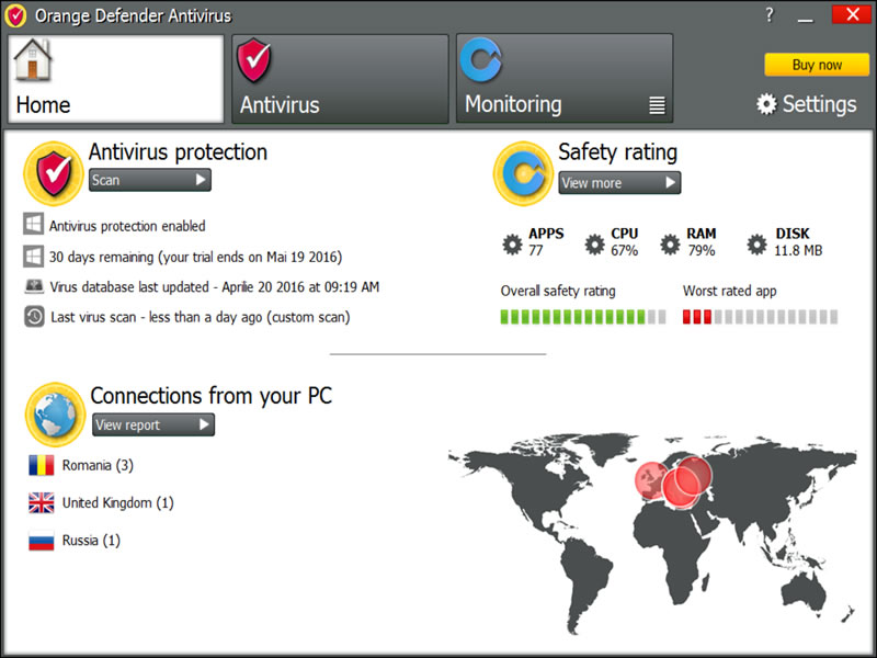 Orange Defender Antivirus Screenshot 1
