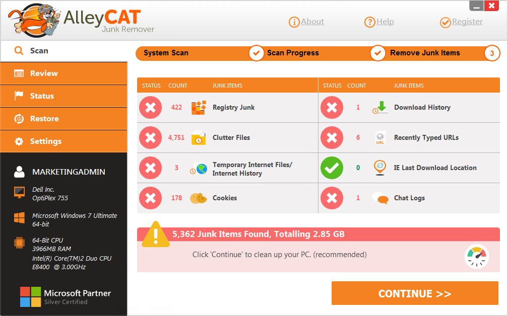 AlleyCAT Junk Remover Screenshot 2