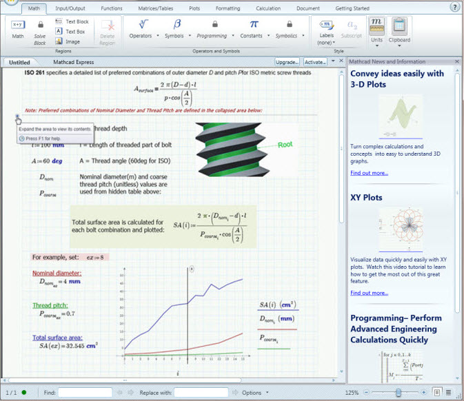 PTC Mathcad Express Screenshot 1