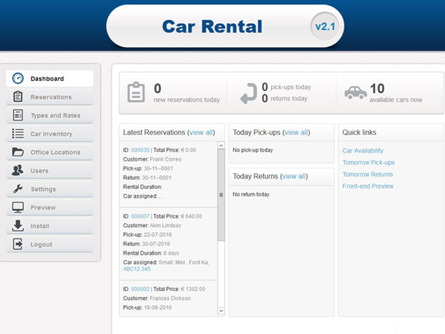 Car Rental Script Screenshot