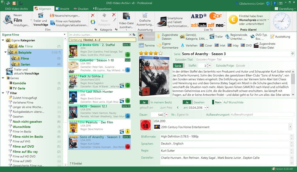 DVD-Video-Archiv+ v8 Screenshot 1