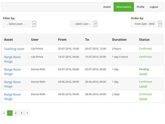 Shared Asset Booking System Screenshot 3