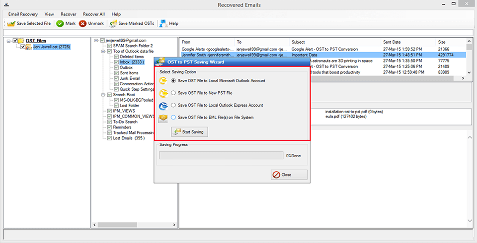 MagicSoft OST to PST Converter Screenshot 5
