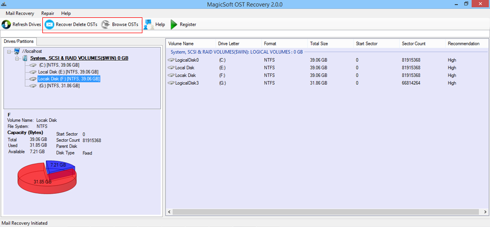 MagicSoft OST to PST Converter Screenshot 2
