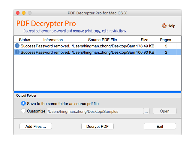 PDF Decrypter Pro for Mac OS X Screenshot