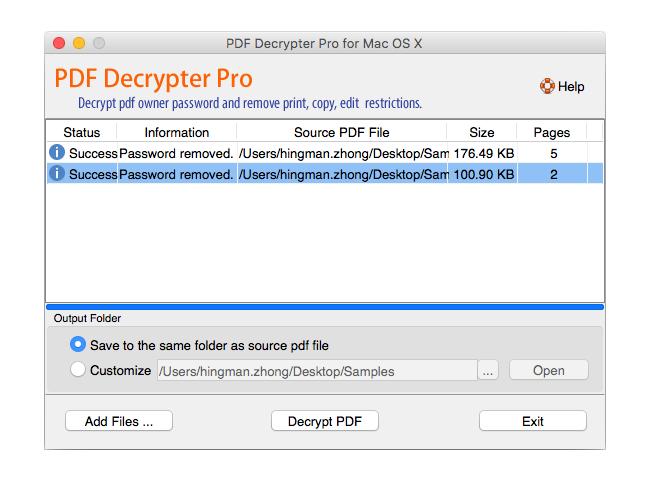 PDF Decrypter Pro for Mac OS X Screenshot 1