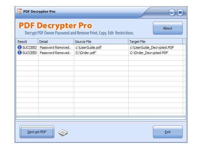 PDF Decrypter Pro for Mac OS X Screenshot 2