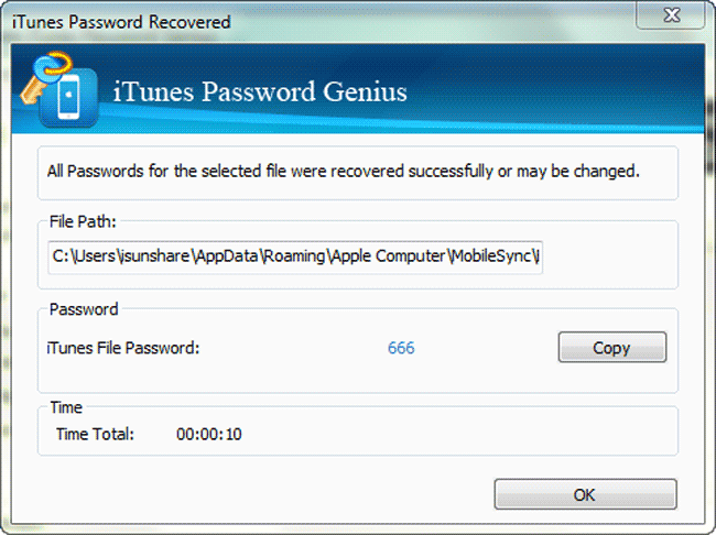 iSunshare iTunes Password Genius Screenshot 3