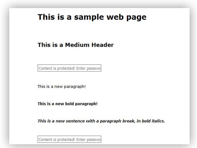 Password Protect Content - free script Screenshot 1